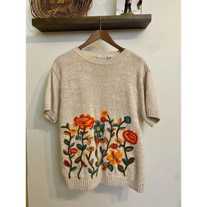 Vintage chunky embroidered knit top | Sz L